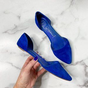 JEFFREY CAMPBELL Royal blue suede d'orsay flats